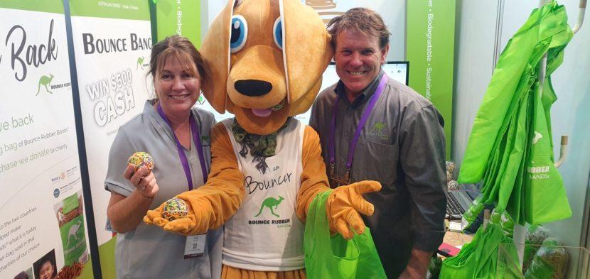 Bounce Rubber Band staff with kangaroo mascot